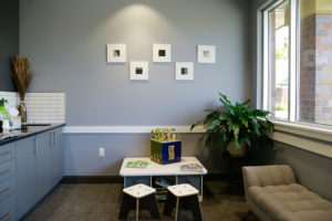 Photo of the kids play area in the waiting room at Willow Lake Dental